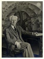 "Portrait of Robert Yerkes seated in front of his ""Primate Tree"" at Yale Medical School"
