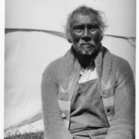 Ojibwa man, portrait, wearing sweater