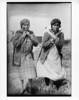 Ojibwa women with crandleboards, portrait