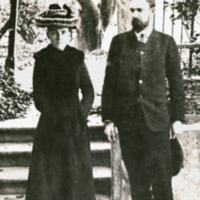 Charles Benedict Davenport and Gertrude C. Davenport, full length, informal, standing outside.
