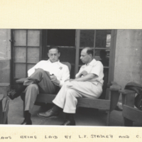 L. J. Stadler and C. Stern, sitting outside in covernsation.