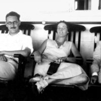 George Gaylord Simpson sitting with unidentified man and woman.