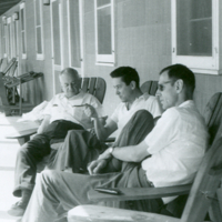 Hampton Carson,  Bruce Wallace, Theodosius Dobzhansky (r. to l.) at Cold Spring Harbor.