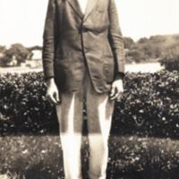 Brooks, full length portrait, Woods Hole.