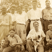 View of men with dogs, Cornell Department of Plant Breeding, 1928.