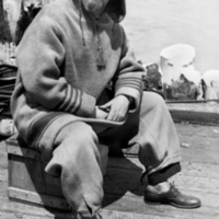 H. Wilkins, Nautilus crew member, in cold weather gear.