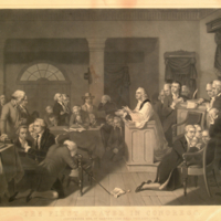 The first prayer in Congress, September 1774, in Carpenters Hall, Philadelphia.