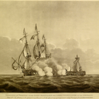 The Java, as she appeared at 35 Min. past 4 P.M. after having sustained several ranking Broadsides from the Constitution.