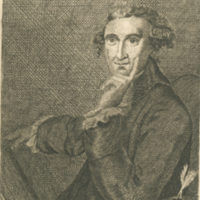 Thomas Paine, portrait, seated with book.