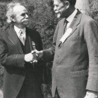 Franz Boas at American Association for Advancement of Science as incoming president, with Thomas Hunt Morgan, outgoing president