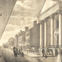 High Street, with the First Presbyterian Church, Philadelphia, 1800.