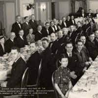 """Dinner of the Tenth Annual Meeting of the American Association of Physical Anthropologists, in Honour of the 70th Birthday of Ales Hrdlicka, Philadelphia, April 4, 1939."""