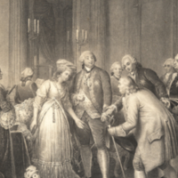 Reception de Franklin au Palais Royal par le Duc d'Orleans (Louis Philippe) 1778.