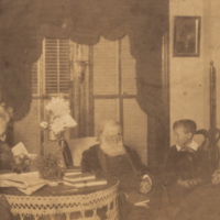 Anna Sellers, Mrs. Coleman Sellers, George Escot Seller, Louisa Peale Grimmer and Charles Grimmer, informal, seated.