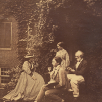 Titian R. Peale and family sitting outside, full length, profile, informal.