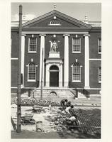Stone Workers out front of Library Hall