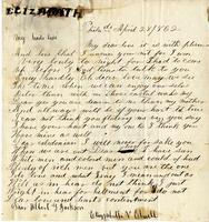 Elisabeth Velora Elwell to Albert G. Jackson, 1862 April 28